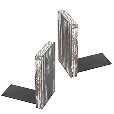 MyGift Torched Wood Office Desktop Bookends, Decorative Bookshelf Display Organizers, 1 Pair