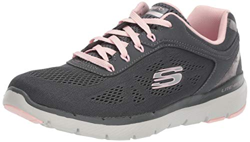 Skechers Damen Flex Appeal 3.0 - Moving Fast Sneaker, Grau (Charcoal Mesh/Duraleather/Pink Trim Ccpk), 37 EU