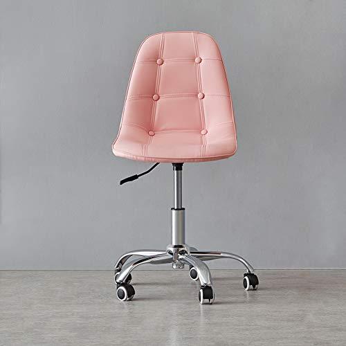 N/Q KJ FURNISHING - Silla giratoria para oficina con ruedas y hebilla de elevación de gas ajustable, diseño de piel sintética para estudio, sala de estar y oficina (rosa, piel sintética)
