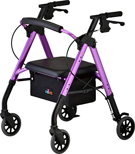 NOVA Star 6 Petite Rollator Walker with Perfect Fit Size System, Lightweight & Foldable, Easy to Lift & Carry, Great for Travel, Color Purple, Petite Approx. User Height: 4'10