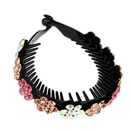 Mesdames Elegant Rhinestones Hair Bun Décor Ponytail Clip Hair Accessories, No.12