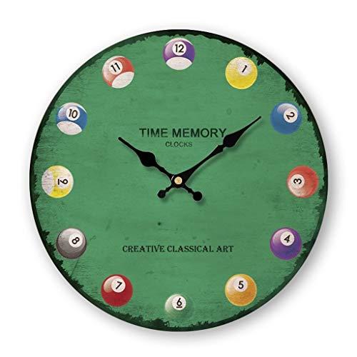 MQH Perfekte Uhr Großer Retro Wanduhr, kreative Billiard Nicht Ticking klassischer Stumm Uhren Dekorative Wand-Uhr for Wohnzimmer, Büro, Batteriebetriebene Hohe Genauigkeit (Größe : 12 inch)