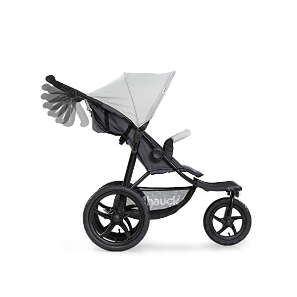 Hauck Runner, Jogger Style, 3-Wheeler, Pushchair with Extra Large Air Wheels, Foldable Buggy, For Children from Birth to 25kg, Lying Position - Silver Grey Hauck LONG USE - This 3-wheel pushchair is suitable from birth (in lying position or in combination with the 2in1 Carrycot) and can be loaded up to 25kg (seat unit 22 kg + basket 3 kg) ALL-TERRAIN - Thanks to the big air wheels - back 39cm diameter, front 30 diameter – as well to the swiveling and lockable front wheel, this jogger style pushchair can be used on almost any terrain COMFORTABLE - Thanks to adjustable backrest and footrest, sun canopy, large shopping basket, and height-adjustable push handle 15