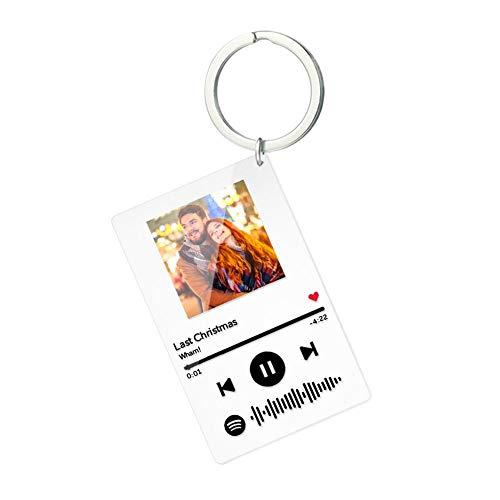 VEELU Personalisierter Schlüsselanhänger mit Ihrem Foto Lied Wunschtext Spotify Code Board Musik Code Scannbar Persönliche Geschenke für Liebhaber Geburtstag Jubiläum Valentinstag Neujahr