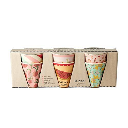Rice Becherset Kinder 6 teilig, verschiedene Motive im Set, Größe 7 cm, Muster Goldfish Print Artikelvariante Becherset Rose Mädchen