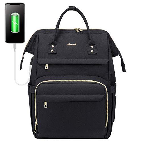 LOVEVOOK Rucksack Damen mit Laptopfach 17 Zoll, Wasserdicht Schulrucksack, Business Reise Laptop Rucksäcke Tasche mit USB Ladeanschluss, für Student Lehrer Herren, Schwarz