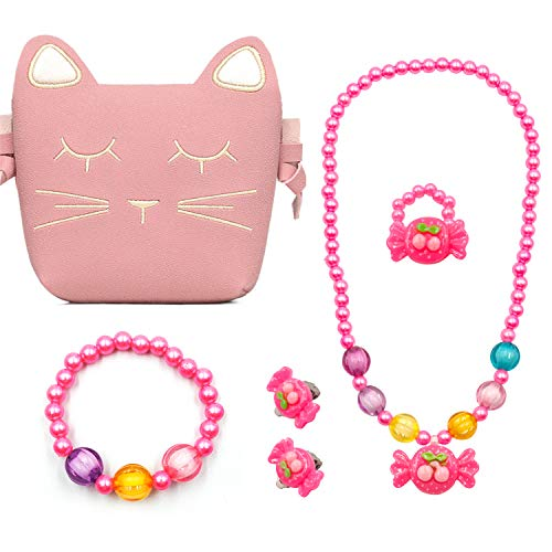 Children Play Jewelry Set, Little Toddler Girls Pink Cat Purse Toys for Xmas Birthday Gift