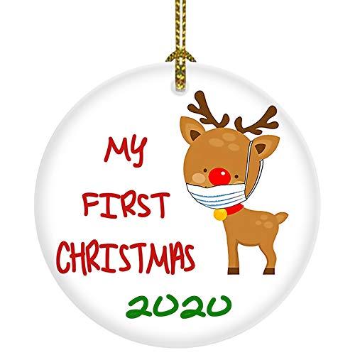 CZHEZEE My First Christmas 2020 Cute Reindder - Christmas Ornament - Holiday Ceramic Keepsake 3' Flat Circle Porcelain - Ceramic Disk - Christmas Tree Ornament - Gifts for Christmas Keepsake