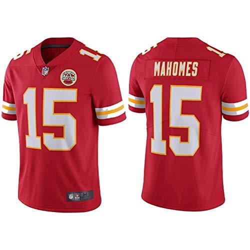 Camiseta De Manga Corta para Hombre Uniforme De Futbol Kansas City Chiefs 15# Patrick Mahomes Camisetas De Rugby Jerseys, Adecuado para Deportes al Aire Libre, Ocio y Confort,Rojo,M