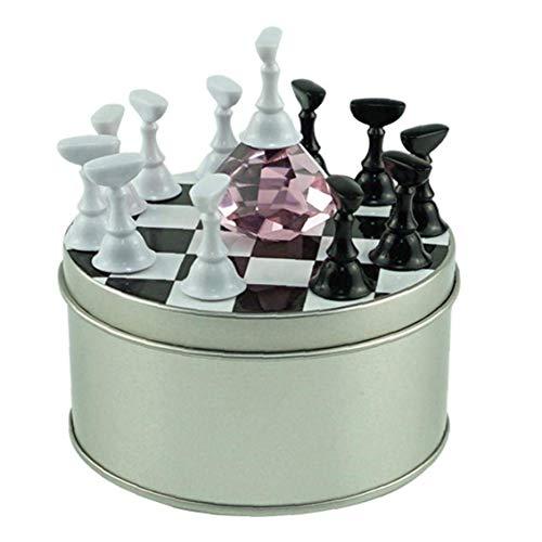 Kinhevao 1 Satz-Nagel-Ständer Praxis Schachbrett Tipps Halter Kristall Nails Art Werkzeuge for Salon DIY Praxis Maleicure anzeigen (Color : Pink)