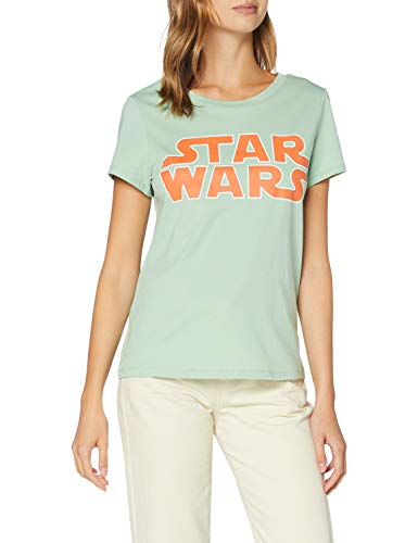 Only ONLSTAR S/S T-Shirt JRS Camiseta sin Mangas, Diseño: Star Wars Frosty Green, S para Mujer