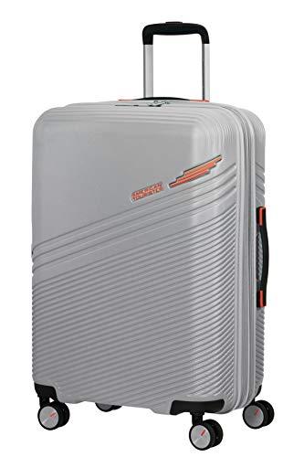 American Tourister Triple Trace - Spinner M - Maleta expansible 67 cm, 69,5/79,5 L, color plateado (plata/naranja)