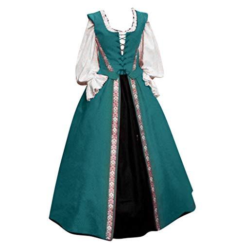 Eaylis Gothic Mittelalterkleid Damen Vintage Gothic Steampunk Viktorianischen Renaissance Spitze Patchwork Prinzessinkleid Abendkleider Partykleid Halloween Karneval Fasching Cosplay Kostüm