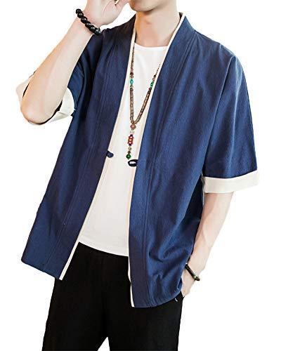 Shaoyao Hombres Cárdigan Chaqueta De Kimono Japonesa Chaqueta De Informal Chino (S, Armada)