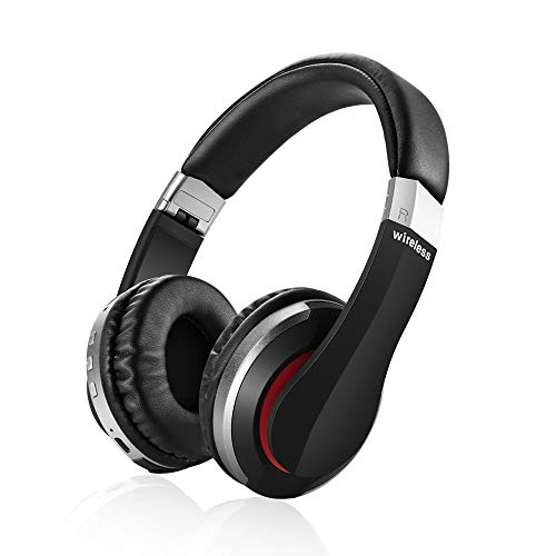 Fekgoo Bluetooth Headphones Wireless Headphones Over Ear Cell Phone Bluetooth Headset AUX SD Card Slot Compatible All Smart Phone Can be Switched to Wired Mode(Silver)