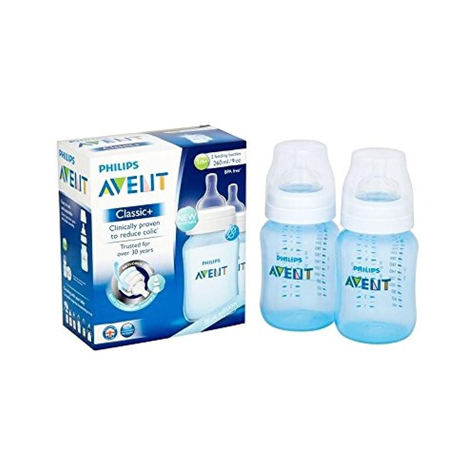 タイプテープ奨励古典的なプラス青いボトルツインパック (Avent) (x 4) - Avent Classic Plus Blue Bottle Twin Pack (Pack of 4) [並行輸入品]