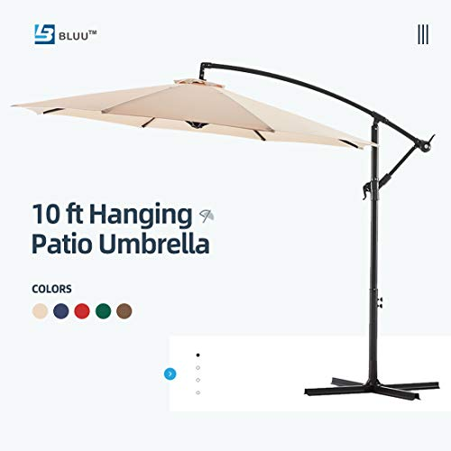 Bluu 10ft Patio Offset Umbrella Cantilever Umbrella Hanging Market Umbrella Outdoor Umbrellas with Crank & Cross Bases(Beige)