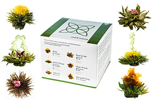 Feelino Edle 6er-Mischbox -Teeblumen Feelino Green in toller Probier- und Geschenkbox mit 6 verschiedenen Grüntee-Teerosen, einzeln vakuumverpackt, 1er Pack