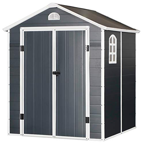 Outsunny 6.5ft x 6.5ft Plastic Garden Storage Shed Waterproof Outdoor Patio Equipment Tool Storage w/Latch & Window - Grey