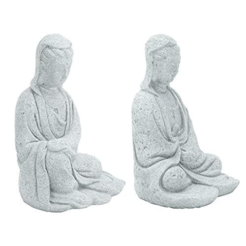 Happyyami Estatua de Buda Piedra Arenisca Estatuilla de Buda Riqueza Y Buena Suerte Ornamento de Jardín Zen para La Buena Suerte Riqueza Hogar Decoración de Mesa 2 Piezas