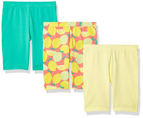Amazon Essentials Girls' 3-Pack Cart-Wheel Short Shorts, Paquete de 3 Limones, EU 128 CM, Pack de 3