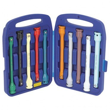 10 Piece 1/2 inch Torque Limiting Extension Bar Set with Carrying Case, Color Coded and Engraved with ft. lb. settings
