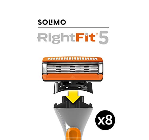 Amazon Brand - Solimo RightFit5 8 replacement cartridges, fit Fusion5* handles