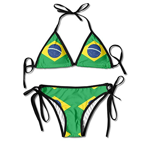 Frauen Bikini Set Brasilien Flagge Krawatte Seite Beachwear