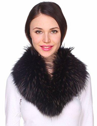 Ferand Echter Gefärbter Waschbär-Pelzkragen für Frauen Abnehmbarer Fellkragen für Parka, Jacke, Mantel