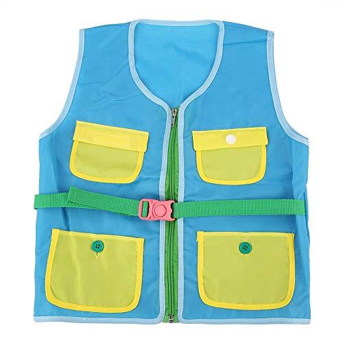 Garosa Kid Vest Toy Teaching Tool Unterrichtsweste Toy Basic Life Skills Langlebig Oxford Stoff Training Fähigkeit der Anziehweste Flexibilität der Fingerknöpfe Fähigkeit(Blue)