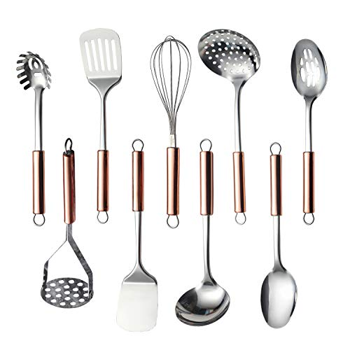 Amazon Brand Kitchen Utensil Set, 9 Piece Stainless Steel Cooking Utensil Set, Kitchen Gadgets Cookware Set, Best Gift - Kitchen Tool Set (Rose Gold Handle)