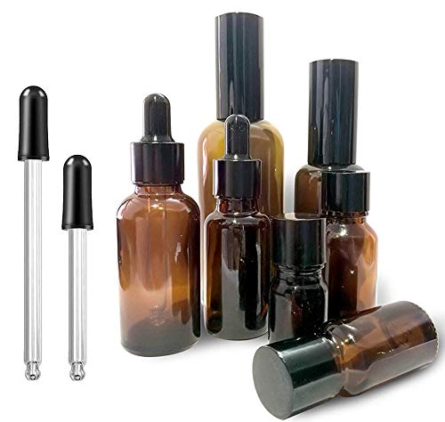7PCS Essential Oil Bottles Empty Amber Glass Spray Bottles 100ML 50ML Spray Bottles, 30ML 20ML Dropping Bottles 15Ml 10ML 5ML Refillable Container Come with Bottles Brush,(Combine with Spray Bottles)