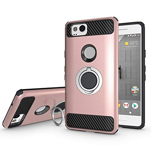 Newseego Compatible with Google Pixel 2 Case 5inch with Armor Dual Layer 2 in 1 with Extreme Heavy Duty Protection and Finger Ring Holder Kickstand Fit Magnetic Car Mount for Google Pixel 2-Rose Gold