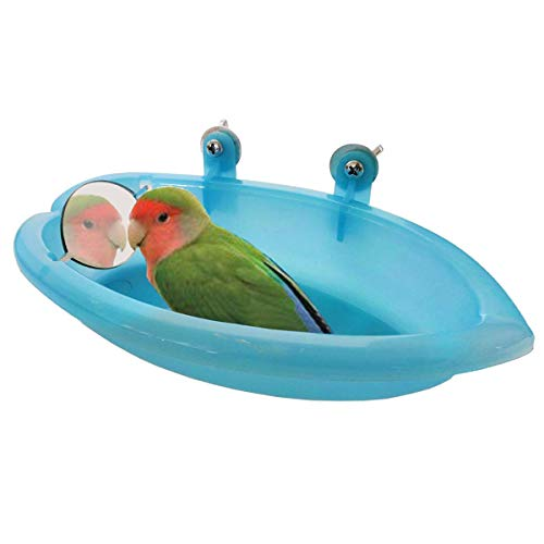 Bird Bath Box with Mirror Portable Parrot Hanging Bathroom Bathing Tub for Small Birds Parrots Cleaning Supplies