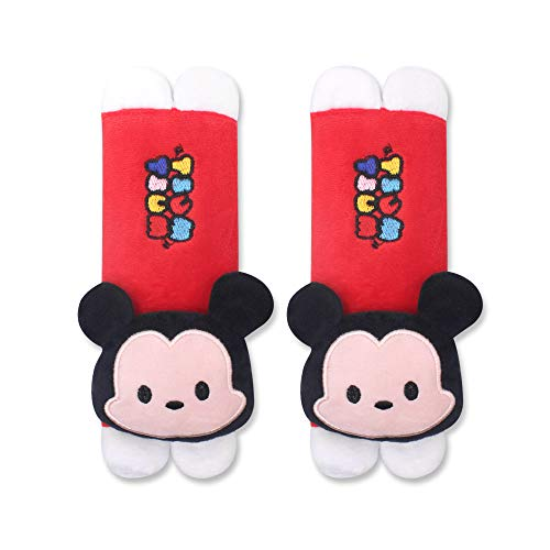 Finex Set of 2 Mickey Minnie Plush Car Seat Belt Strap Covers Shoulder Cushion Pad (Red Mickey Mouse)
