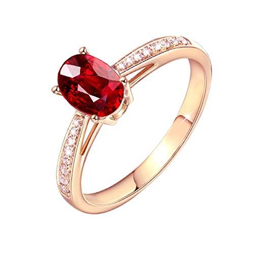 Ubestlove Gelbgold Ring 750 Mama Geschenk Deko 4 Klaue Ovaler Roter Rubin Ring 0.5Ct 57
