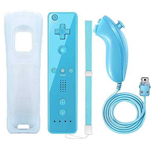 NC Wii Remote Controller and Nunchaku Controller, Used for Nintendo Wii and Wii U Console,with Silicone Case and Wrist Strap (Blue 1set)