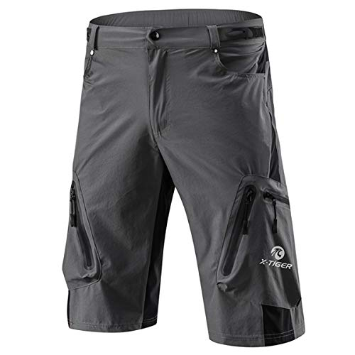 X-TIGER Men's Bicycle Shorts,Lightweight and Baggy Mountain Bike Shorts for Cycling Running Gym Training Shorts Pants for Off Road Cycling Outdoor Sports Leisure Bottoms (Grey, L)