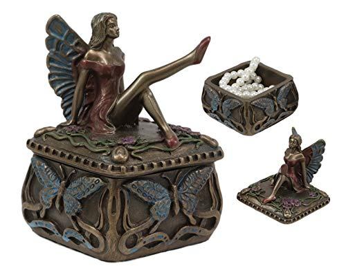 Ebros Gift Decorative Butterfly Fairy Jewelry Trinket Box Small 3.25' Height Figurine Collectible