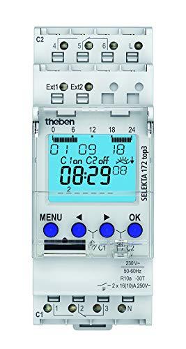 Theben 1720130 SELEKTA 172 top3 - digitale 2-Kanal Astro-Zeitschaltuhr mit 2 externen Eingängen und App-Programmierung, Zeitschalter