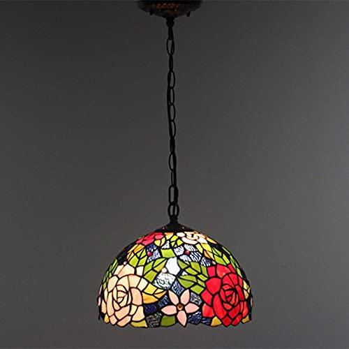 Lámpara colgante de techo estilo Tiffany de 12 pulgadas, lámpara colgante de vidrio de color rosa, lámpara de hierro forjado para dormitorio, comedor, cocina, balcón, 40 W