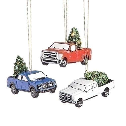 Ford Motor Trucks with Trees 3 Inch Resin Christmas Ornament Set of 3