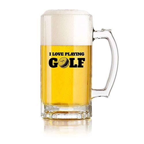 PICOM99 Boccale di Birra in Vetro con Manico I Love Playing Golf (16 oz) Durevole Resistente alle Cadute