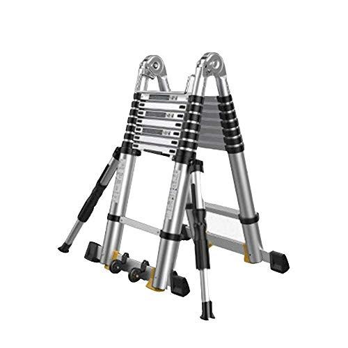 Escalera telescópica Plegable Paso escaleras de aluminio telescópica Escalera, multiusos de la escalera telescópica ajustable con la ayuda de Rod variable escaleras rectas 5size ( Size : 2.1m )