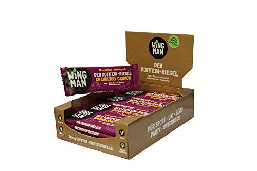 WINGMAN Koffein - Riegel (Cranberry Crunch-Geschmack, 16 Riegel)   Vegan & Proteinquelle   Energieriegel mit Koffein