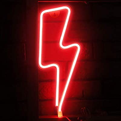 Funpeny LED Neon Decorative Light, Neon Sign Shaped Decor Light, Lightning Shape Indoor Decor for Halloween Decoration, Living Room, Birthday Party, Wedding Party
