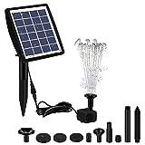 Nrkin Fuente solar con panel solar de 2 W, bomba de agua para estanque, bomba de agua solar flotante, 4 efectos para estanque, piscina, estanque, baño para pájaros, jardín