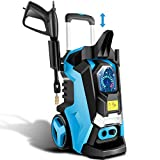 TEANDE Electric Pressure Washer 3800 PSI Smart High Pressure Power Washer 2.8 GPM 1800W Powerful Cleaner Machine , 4 Nozzles, Touch Screen 3 Gear Level,15 Level Pressure(Blue)