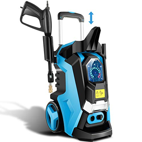 TEANDE 3800 PSI Smart Pressure Washer Electric Pressure Power Washer 2.8 GPM 1800W High Powerful Cleaner Machine with Touch Screen 3 Gear Level, 4 Nozzles, 15 Level Pressure(Blue)