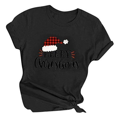 LOPILY Weihnachtspullover Damen Karierte Weihnachtsshirts mit Weihnachtsmütze Druck Christmas Buchstaben Tshirts Damen Pullover Weihnachten Halloween Hoodie Freizeit Vintage Hoodie (Schwarz, L)